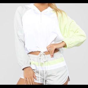 Retro Vibe Windbreaker Set with Shorts